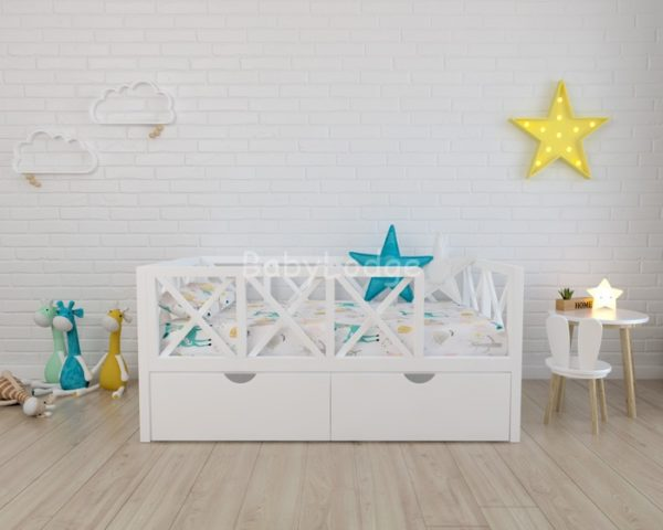 кроватка для ребёнка из массива бука с бортиками крестиками купить в Москве