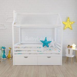 кроватка домиком для ребёнка из массива бука с горизонтальными бортиками купить в Москве