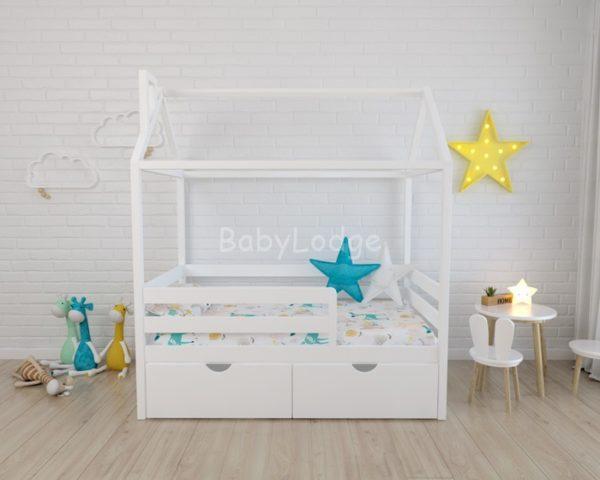 кроватка домиком для ребёнка из массива бука с широкими горизонтальными бортиками купить в Москве