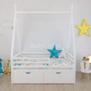 кроватка крыша вигвамом для ребёнка из массива бука с горизонтальными бортиками купить в Москве