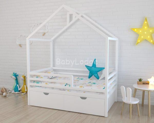 Кровать домик детская с крышей вдоль