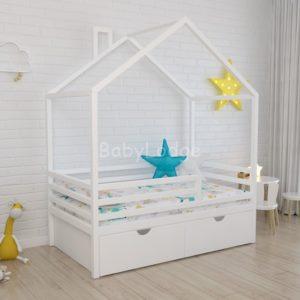 кроватка дом крыша поперек для ребёнка из массива бука с горизонтальными бортиками купить в Москве